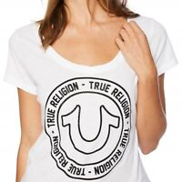 True Religion Women's Sparkly Circle Horseshoe V-Neck Tee T-Shirt in White