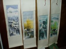 Antique / Vintage NIB 4 Scroll Japanese Asian Signed Pictures, Hand Painted