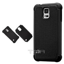 Fits Samsung Galaxy S5 Case Shockproof Rugged Rubber Impact Hybrid Cover - Black