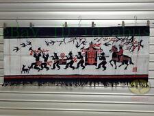 "Chinese Folk Art Wall Hanging Batik Tapestry -Lift The Bridal Sedan Chair 18x45"""