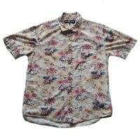 Sunday Work Clothes Mens Shirt Short Sleeve Hawaiian Palm Print size M