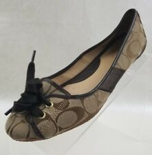 Coach Signature Josie Ballet Flats Womens Brown Canvas Leather Shoes Size 8M