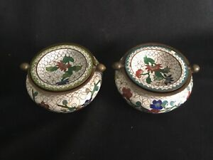 Two Vintage Chinese Cloisonne Incense Burners Swivel Rotating Lid Ashtrays