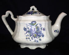 ARTHUR WOOD & SON KEW TEAPOT & LID 32 OZ MULTI-COLOR FLORAL ON LIGHT BLUE