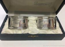 Vintage Elegant Napkin Rings 800 Fine Silver Italy in Box