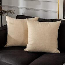 """2 Kevin Textile Cream Beige Soft Solid Lined Faux Linen Pillow Covers 20"""" X 20"""""""
