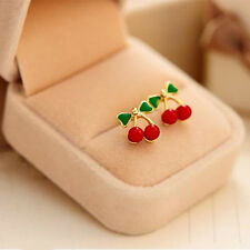 Charming Women Red Cherry Ear Studs Green Bowknot Cherry Earrings Fruit Jewelry