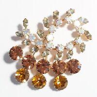 Vintage Austria Large Amber Aurora Borealis Gray Rhinestones Flashy Brooch Pin