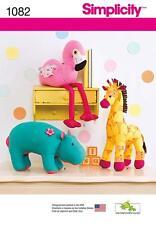 SIMPLICITY SEWING PATTERN Stuffed Hippo Giraffe & Flamingo ONE SIZE 1082 A