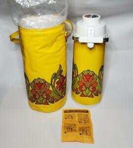Vintage Peacock Air Pot Tea Coffee Beverage Dispenser Vacuum Thermos Carafe +Bag