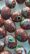 200+ Vintage Cloisonne 9x7mm Oval Eggs—Rust with Pink and Green Floral Accent