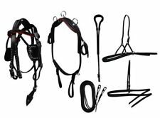 Mini Horse Small Pony Black Leather Complete Driving Cart Show Harness Set Bag