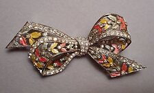 1930s Marcel Boucher Early MB Mark Brooch - Enamel & Rhinestone Filigree Bowknot