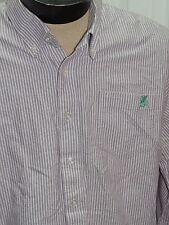 Men's XXL Coogi Long Sleeve Shirt White & Purple Stripe 100% Cotton