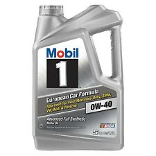 Mobil 1 Full Synthetic Motor Oil 0W-40 5-Quart European Car Formula FREE SHIP
