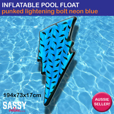 Inflatable Pool Float Lightening Bolt Neon Blue Bright Jumbo Air Mat Bed Lounge
