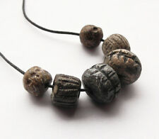 6 RARE GENUINE ANCIENT WOOLLY MAMMOTH FOSSIL BEADS  - wearable