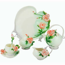 16PC Ceramic New Pink Rose Coffee&Tea Milk Set Platter Creamer Sugar Pot Cup