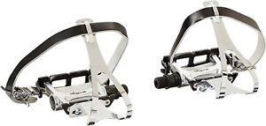 New Wellgo Road Fixie Track Bike Pedal w/ Toe Clips & Leather Strap Set - Black
