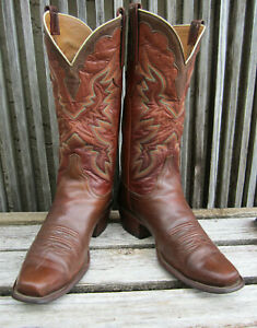 Vintage Lucchese Handmade Classics Calf Skin Brown Cowboy Boots SZ 9 D USA!