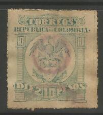 timbres-Colombie. 1902. 10 Peso Bleu Vert sur Paille Rugueux Broche Perf. SG: