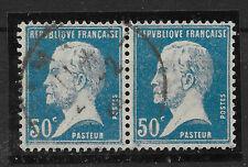 FRANCE PASTEUR N° 176 a PAIRE ROULETTE OBL SIGNE CALVES COTE 310 €