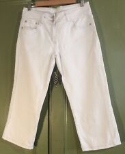 M & Co Uk12 Ivory Cotton Stretch Cropped Jeans  Casual Summer Spring Holiday