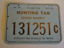1964 - 1965 New York State Hunting Tag Citizen Resident back tag 131251C
