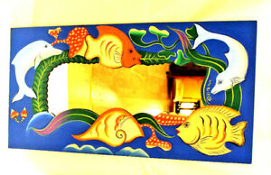 Beautiful Colorful Mirror Painted Carved Wooden Blue Fish Dolphin Sea Wall Decor