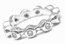 AUTHENTIC! CHANEL 18K WHITE GOLD DIAMOND ETERNITY BAND RING SIZE 4 1/4