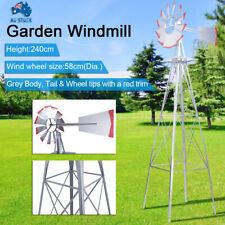 Portable Garden Windmill 8FT Metal 240cm Decorative Ornamental Outdoor Wind Mill