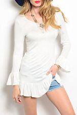 Black or Cream Long Sleeve Ruffle Hem JerseyBlouse Tunic Top
