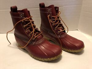 """L.L. BEAN 8"""" Red Leather/Rubber Duck Boots USA Women's Size 10 M Used"""