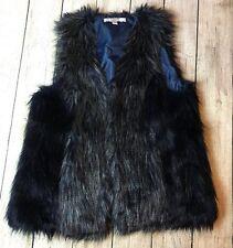 Womens Fever Large Long Hair Jacket Waistcoat Faux Fur Shaggy Vest Sleeveless
