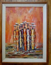 VINTAGE AFRICAN OIL PAINTING FRAMED 19 X 25 SIGNED CUBIST ART ECLECTIC COOL