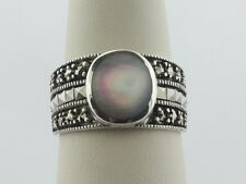 of Pearl Mop Inlay Band Ring 8 Sterling Silver 925 Triple Row Marcasite & Mother