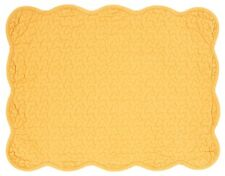 Set of 2 Great Finds HONEY Solid Golden Yellow Quilted Cotton Placemats