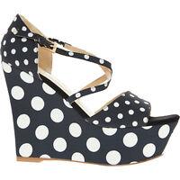 LOVE MOSCHINO Women's Wedged Heels, Black & White Polka Dot, UK 4 / EU 37