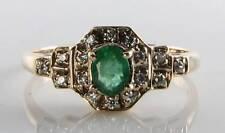 English 9K 9Ct Gold Colombian Emerald & Diamond Art Deco Ins Ring Free Resizing