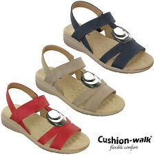 Cushion-Walk Halterback Sandals Wedge Open Toe Soft Summer Cushioned Comfort