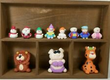 Clay Animals Miniature Doll Craft Gift with Wood Display Shelf Home Decor