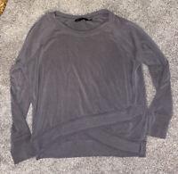 ATHLETA Gray Ribbed Crisscross Hem Long Sleeve Sweatshirt Top Large Yoga Gym