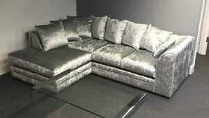 chicago corner group in crushed velvet silver and other colours.