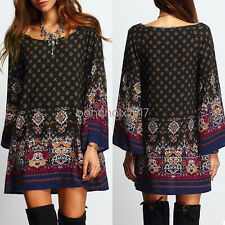 2017 Women Ethnic Floral Boho Hippie Long Sleeve Loose Blouse Beach Dress Skirt