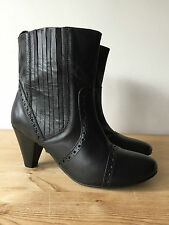 CHIX PLATINUM LADIES BLACK LEATHER ANKLE BOOTS UK6