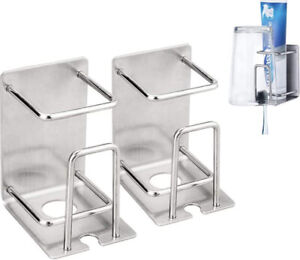 AYAITEE Toothbrush Holder 3 in 1 Stainless Steel Electric Wall Mounted 2 Pack