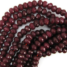 """12mm faceted ruby red jade rondelle beads 7.5"""" strand"""