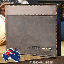 RRP $25! Yateer ~ Business Men's Leather Wallet Grey ~ Card Holder Purse Pocket
