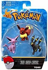 Official Pokemon Eevee Eeveelutions 3 Pcs Figure Set Eevee Espeon & Umbreon NEW