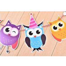 Family Animal Owl Baby Kids Happy Birthday Card Flag Home Party Decoration